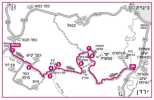 טיול מנחל תבור למצפה אלות. מפת המסלול באדיבות הוצאת מפה