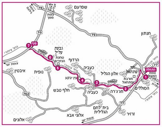 נחל ציפורי. מפת המסלול באדיבות הוצאת מפה