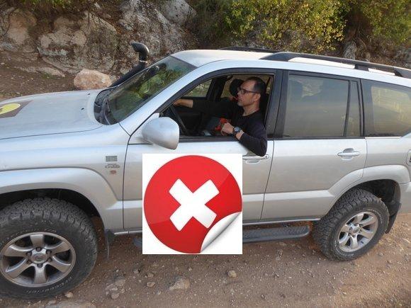 תנוחת נהיגה רכב שטח לא נכונה