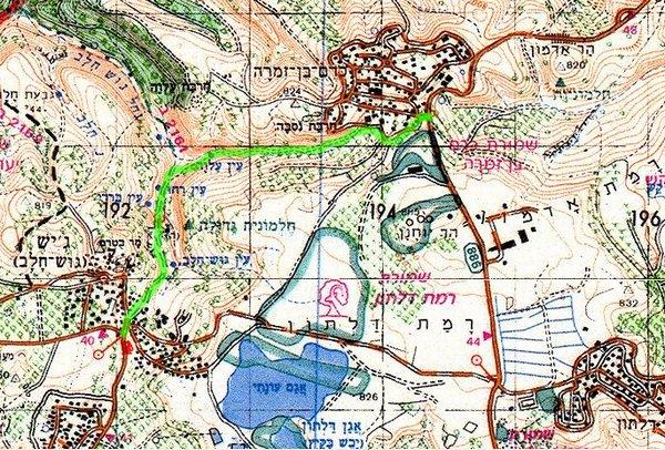 עין עלווה. מפת המסלול באדיבות הוועדה לסימון שבילים